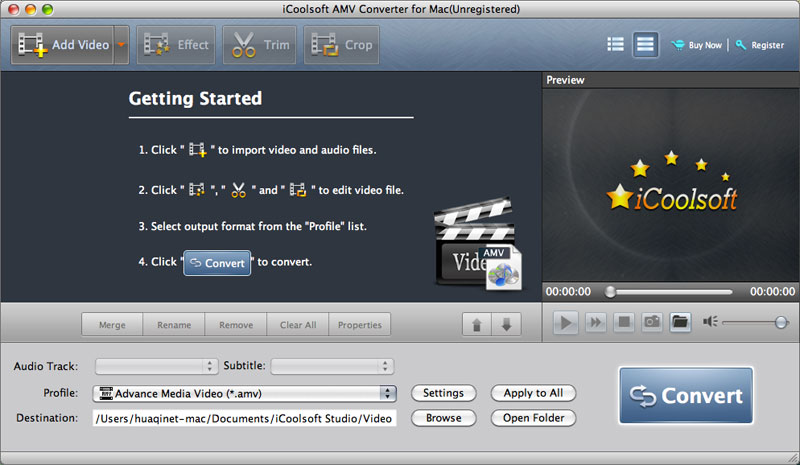 iCoolsoft AMV Converter for Mac screenshot