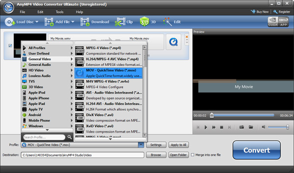 Convert WLMP Files to Any Video Format