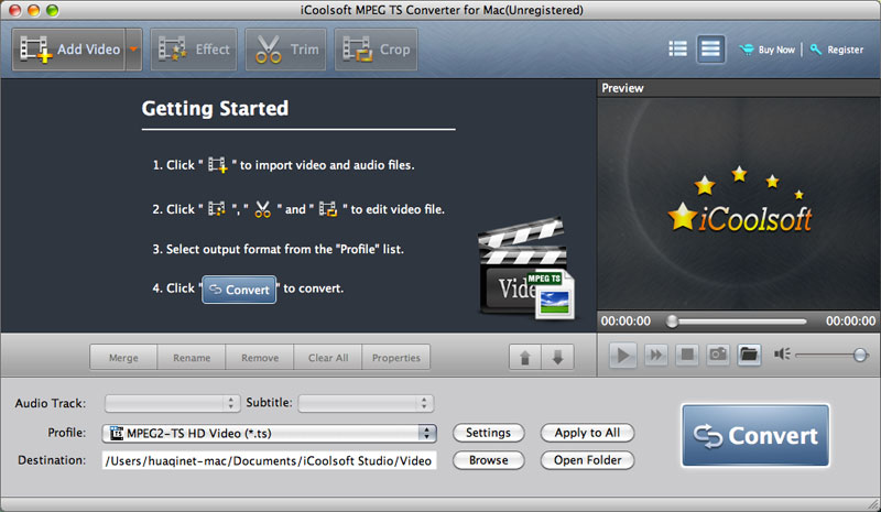 iCoolsoft MPEG TS Converter for Mac full screenshot